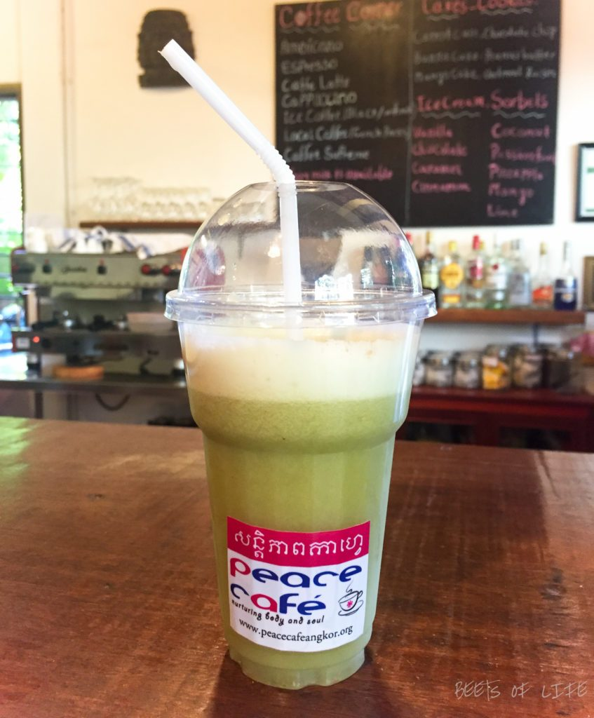 Green juice at the peace cafe