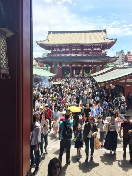 Crowds at Sensoji Temple!! It was crazy navigating the crowds. I was mostly worried about losing sight of Mamma Vora who was excited about all the street shopping and food this place had to offer.