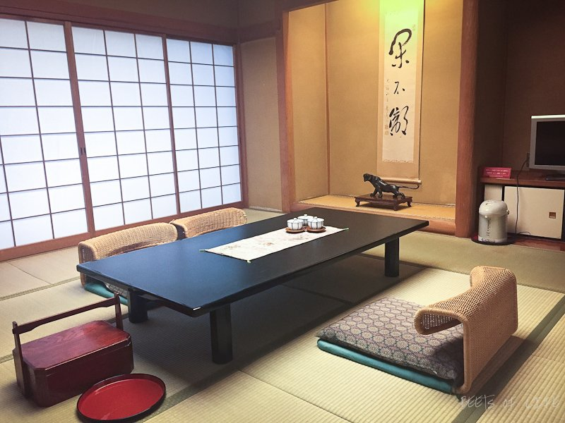 Inside our living room in a traditional japanese ryokan