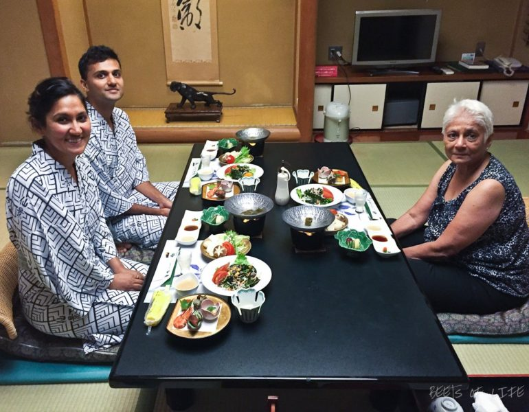 A specially prepared traditional vegetarian dinner at our Ryokan after a relaxing dip in the Onsen!