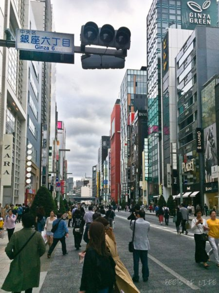 Walking in the shopping district, Ginza on a Sunday afternoon when no vehicles are allowed. Quite a treat!