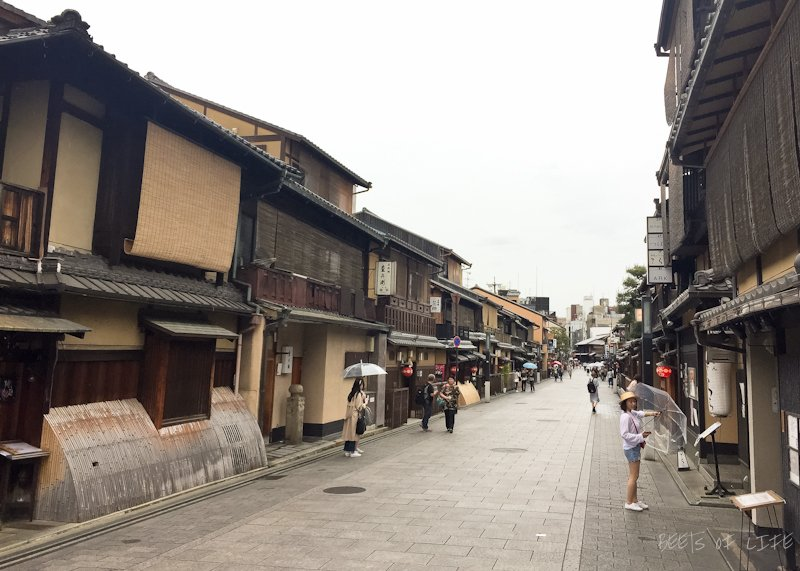 Kyoto's famous geisha district. The street is now filled with shops, restaurants and tea houses where one may spot a geisha. Unfortunately, we didn't see any.