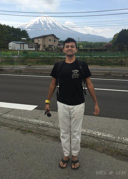 Tanuj in Mountain pose to honor Mt Fuji
