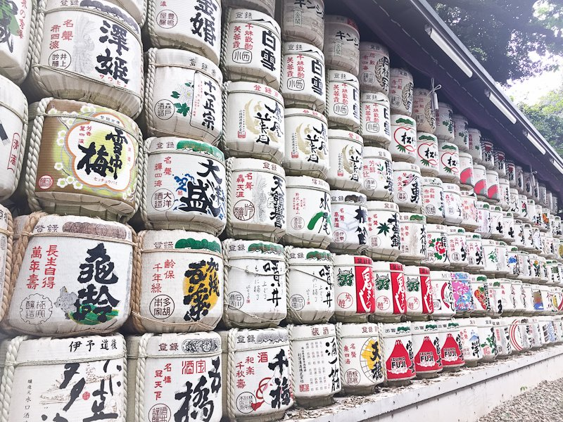 Sake barrels at Meiji Jingu Shrine