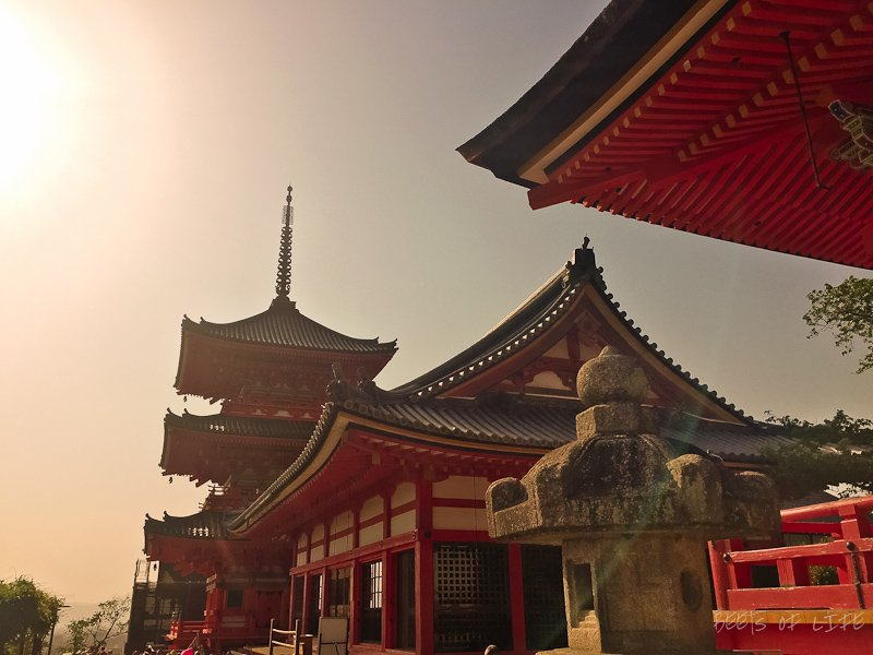 Sun setting over the beautiful pagoda and temple buidlings