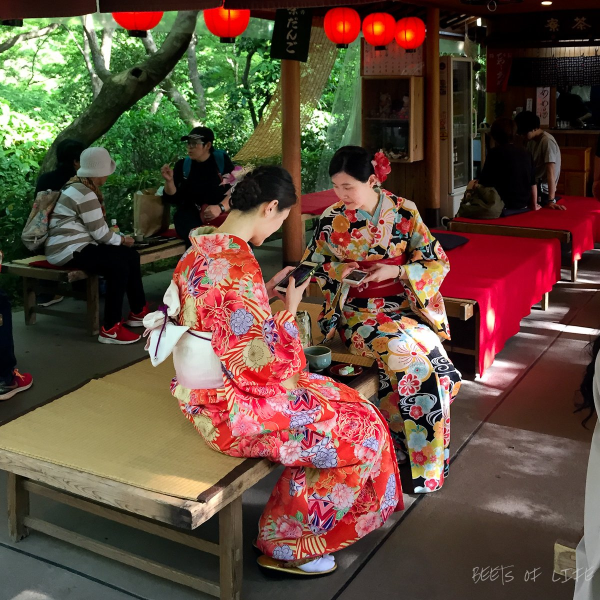 Women visiting the temple dressed in Kimonos