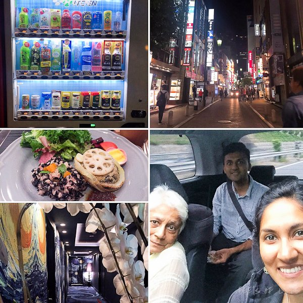 "First night (top right in clockwise direction): One of the ubiquitous Japanese vending machines, Akasaka night view, driving into Tokyo city, Vincent Van Gogh's starry night corridor in our hotel, and our first so called ""vegan"" meal (with an egg) for dinner!"