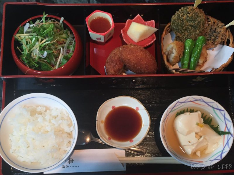 The one and only time we got to eat a vegetarian Bento box meal in Japan