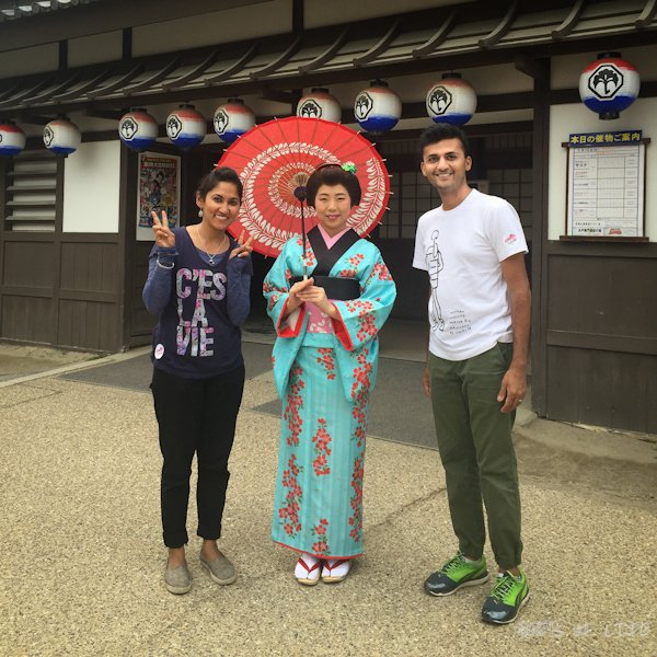 We were happy to pose with a lady dressed as a Geisha!