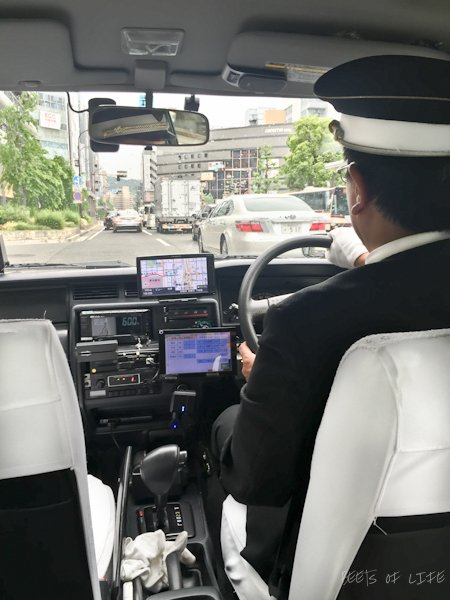 The taxis in Japan have automatic doors! Wish I'd taken an action shot.