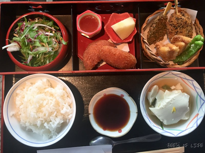 After looking high and low for a vegetarian bento box in Tokyo, Hakone and Kyoto city, we were thrilled to find it in Arashiyama!