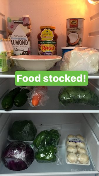 A fridge stocked with veggies galore!