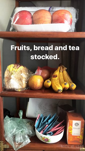 Other essentials for vegetarians: fruits, bread and tea.