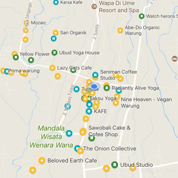 happy yellow dots on google maps showing us where we can find vegetarian food ubud